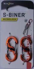 Nite Ize S-Biner MicroLock Aluminum 2 Pack Orange Double gated LSBMA-19-2R6 NEW