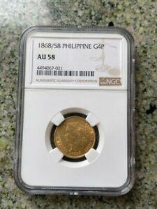1868/58 NGC AU58  PHILIPPINE GOLD 4 Pesos