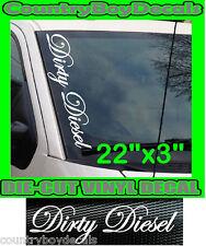 DIRTY DIESEL Script VERTICAL Windshield Vinyl Side Decal Sticker Car Truck Turbo