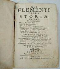 GLI ELEMENTI DELLA STORIA + 18 TAVOLE DI NUMISMATICA - VENEZIA 1714
