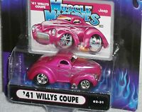 2002 MUSCLE MACHINES '41 Willys Coupe Col.#02-31 Real Riders with Flames 1941