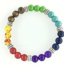 7 Chakra triplet bead elastic bracelet colorful round beads yoga stretch bangle