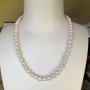 100% natural freshwater 7-8mm elegant pearl necklace 46cm length AB