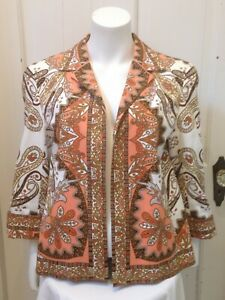 Talbots Colorful Paisley Mosaic Print Open Front Jacket SZ 12 Lined 3/4 Sleeve
