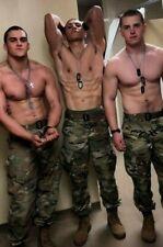 Shirtless Male Beefcake Muscular Military Men Trio Flexing Hunks PHOTO 4X6 F1935