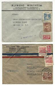 COLOMBIA, Bogota - 1946 - 14 vintage stamped Air Mail stamped envelops LOW BID