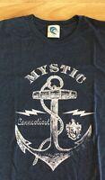 Mystic Connecticut Blue Graphic Tee T Shirt Nautical Anchor Men's XL