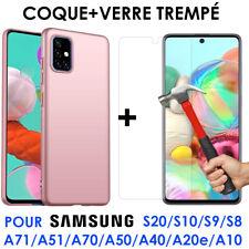 Coque Silicone Mat Samsung A71 A51 A10 A20 A40 A50 A70 + Ecran Verre trempé
