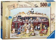RAVENSBURGER PUZZLE*500 TEILE*CRAZY CATS COACH TRIP*VINTAGE BUS*LINDA JANE SMITH