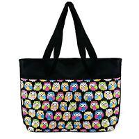 Ladies Hand Bag Black Owl Pattern New Large Zip 2 Pockets With Shoulder Strap