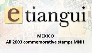 maz08 Mexico 2003 year complete, 29 commemorative  stamps SCV $ 54.00