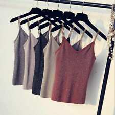 Women V-Neck Knitted Tank Tops Sleeveless Metal Strap Shiny Glitter Crop Tops