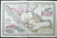 1870 Mitchell Large Antique Map of GOM, Texas, Mexico, Central America Caribbean
