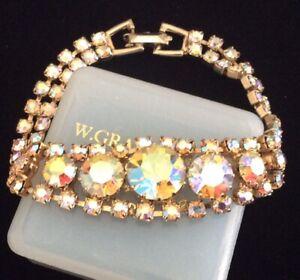 Vintage 1950s Beautiful Sparkling Aurora Borealis Crystal Link Cocktail Bracelet