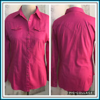 Wrangler Womans Rhinestone Snaps Pink Button Up Shirt sz L Ranch Cowgirl Western