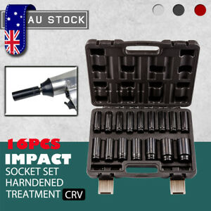 "1/2"" Drive Deep Impact Socket Set CR-V Steel Metric Sockets Long 16-Piece Sets"