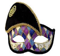 Black and Multicolour French Harlequin Masquerade Mask, Eyemask Venetian Costume