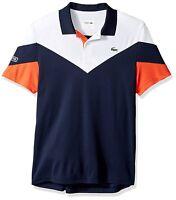 NWT LACOSTE Men's Tennis Short Sleeve Ultra Dry Chevron Colorblock Polo, XS-4XL