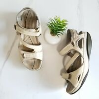 MBT Women's Walking Sandals Beige Leather Comfort Toning Shoes Size 11-11.5 42