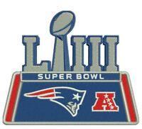 "SUPER BOWL 53 LIII CHAMPION PATCH NEW ENGLAND PATRIOTS 4"" NFL SUPERBOWL CHAMPS"