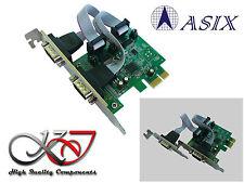 Carte PCIE SERIE RS232 2 PORTS COM DB9 - LOW HIGH PROFILE - CHOIX TENSION 5V 12V