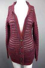 Womens Atmosphere Burgundy Red Button Long Knitted Cardigan Pockets Size 6