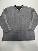 Men's Helly Hansen Stretch  Casual Pullover Grey  V Neck Sweater Size Large