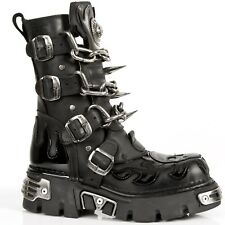 New Rock M.727-S1 Unisex Gothic Leather Biker Boots Chain and Spikes BLACK