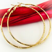 NEW PAIR GOLD OR SILVER HOOP EARRINGS WOMEN LADIES STUD CROSS LARGE CIRCLE HOOPS