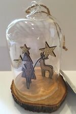 Christmas Decoration Vintage Rustic Style Glass Dome Cloche Wood Base Reindeer