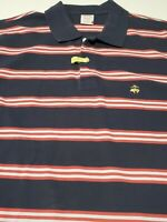 Brooks Brothers Blue Red Striped Performance Polo Shirt XL 100% Cotton 1818