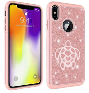For Apple iPhone Glitter Bling Shockproof Protective Case Cover Turtle Hearts