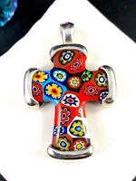 ITALY 925 STERLING SILVER RED YELLOW MILLEFIORI GLASS CROSS DESIGN PENDANT