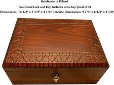 Handmade Extra Large HEARTS Box w/ Key Wood LOVE  Keepsake Made in Poland