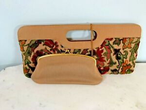 Vintage Tapestry Matching Set Bill Holder Any Ocassion | 1960s Floral Eye glass Case Trio Change Purse Great Gift