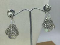 Vintage Earrings Rhinestone Glass Bead Crystal Aurora Borealis Silver Clip On