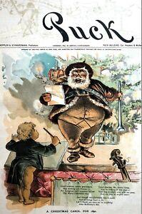 Christmas Carol 1890 SANTA CLAUS SINGING McKinley Bill Song Puck Political Print