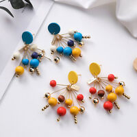 Delicate Colorful Wooden Bead Stud Earrings Alloy Earrings For Women Accessories