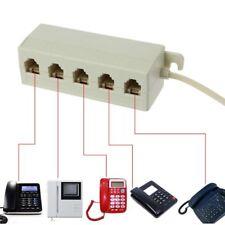 RJ11 Jack 5 Way 6P4C Outlet Telephone Phone Modular Line Splitter Plug Adapter