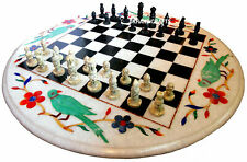 "15"" White Marble Chess Table Top Inlay Handicraft Work Home Decor & Gifts"