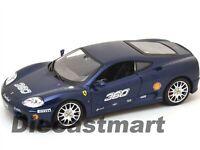 FERRARI RACING 360 CHALLENG BLUE 1:24 DIECAST MODEL CAR BY BBURAGO 26304 NEW