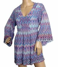 Geometrische Langarm Damenblusen, - tops & -shirts mit V-Ausschnitt
