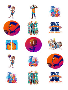 SPACE JAM 15 x PERSONALISED EDIBLE CUPCAKE TOPPERS - PRECUT - ICING OR WAFER