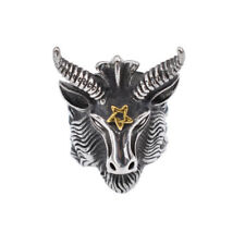 Vintage Goats Head Ring Baphomet Pentagram Satan Stainless Steel Ring Jewelry