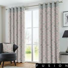 "Fusion ""Copeland"" Geometric 100% Cotton Fully Lined Eyelet Curtains Pink"