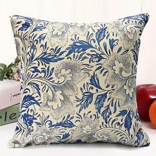 Vintage Oriental Blue Floral Cotton Linen Cushion Cover Pillow Case Home Decor B 45 X 45cm