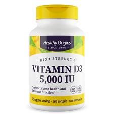 Healthy Origins Vitamin D3 5,000iu 120 Softgels Immune Health & Strong Bones