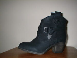 ROCKET DOG SATIRE  BLACK LEWIS PULL ON WESTERN  ANKLE BOOTS SIZE 5/38 RRP £70