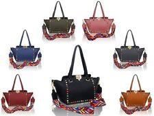 Women's New Rockstud Guitar Strap Crossbody Bag/Ladies Tote Top-Handle Handbag