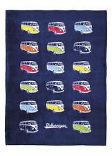 Fleece Blanket Camper Van Bus T1 Volkswagen Blue VW Collection by BRISA BUFL02